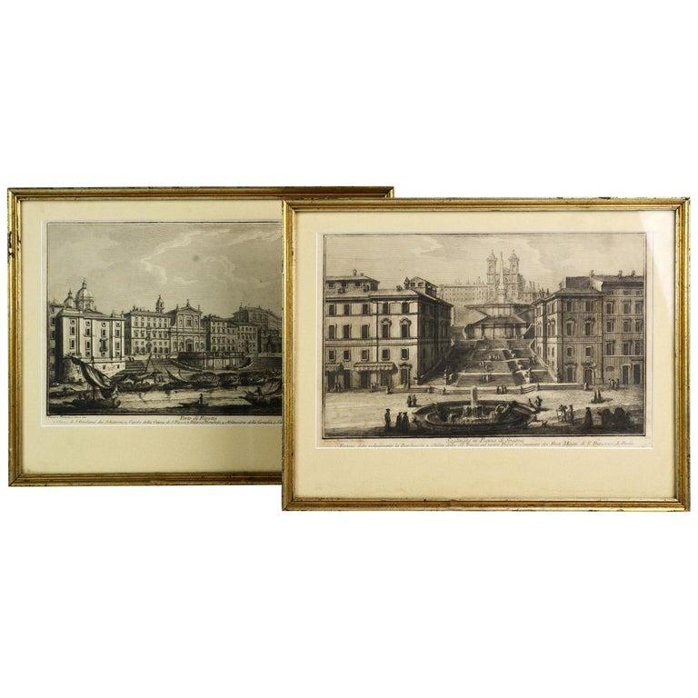 Rare Pair of Rome Prospects Engravings Signed Both Giuseppe Vasi and Piranesi