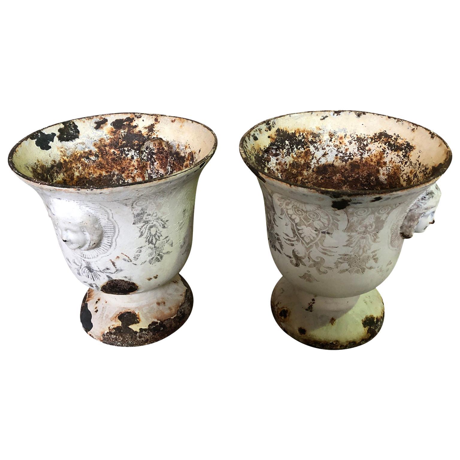 Rare Pair of Rouen Enamel Cast Iron Urns