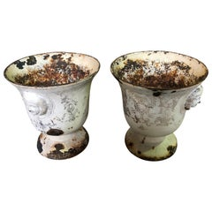 Rare Pair of Rouen Enamel Cast Iron Urns