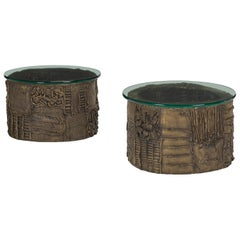 Rare Pair of Sculpted Patinated Bronze Side Tables by Paul Evans