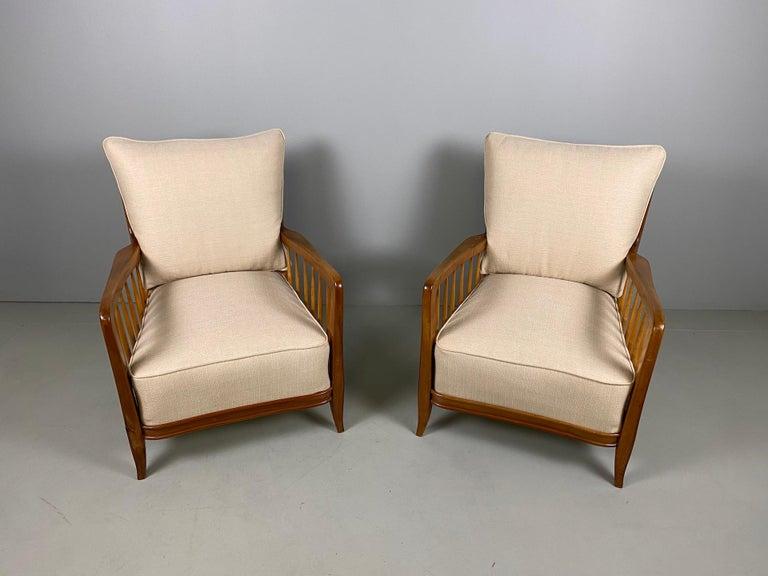 Mid-Century Modern Rare Pair of Sculptural Paolo Buffa Armchairs, circa 1940 For Sale