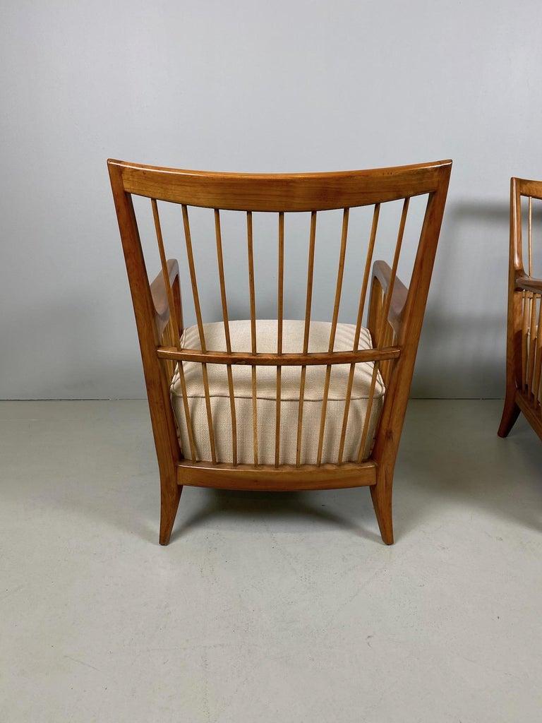 Rare Pair of Sculptural Paolo Buffa Armchairs, circa 1940 For Sale 2