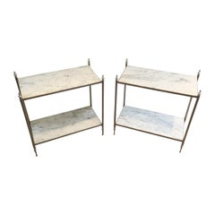 Rare Pair of Silvered Side Tables with White in the Style of Maison Jansen