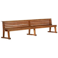 Rare Pair of Solid and Large Oak French Church Bench from the 1960s Pews