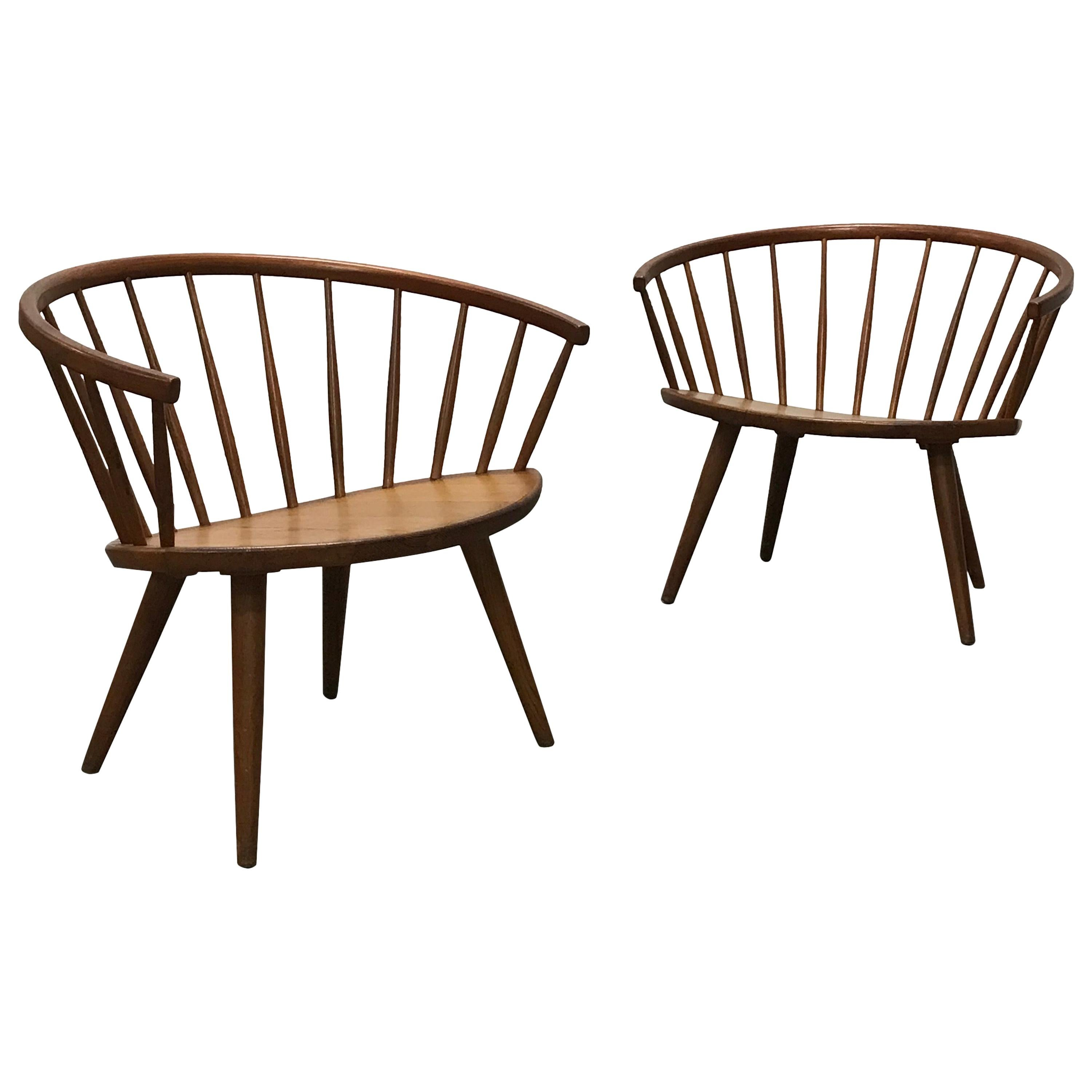 """Rare Pair of Spindle Back """"Arka"""" Lounge Chairs by Yngve Ekström"""