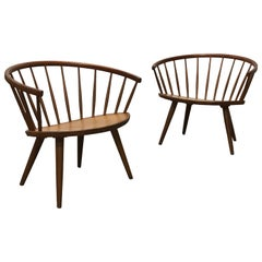 "Rare Pair of Spindle Back ""Arka"" Lounge Chairs by Yngve Ekström"