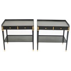Rare Pair of Stamped Maison Jansen Black Wood Brass End Tables, 1950s