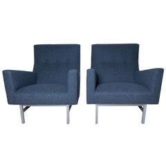 Rare Pair of Steel Framed Lounge Chairs by Jens Risom for Jens Risom Design