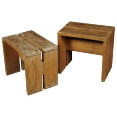 Rare Pair of Stools by Charlotte Perriand for Les Arcs Ski Resort, 1960s