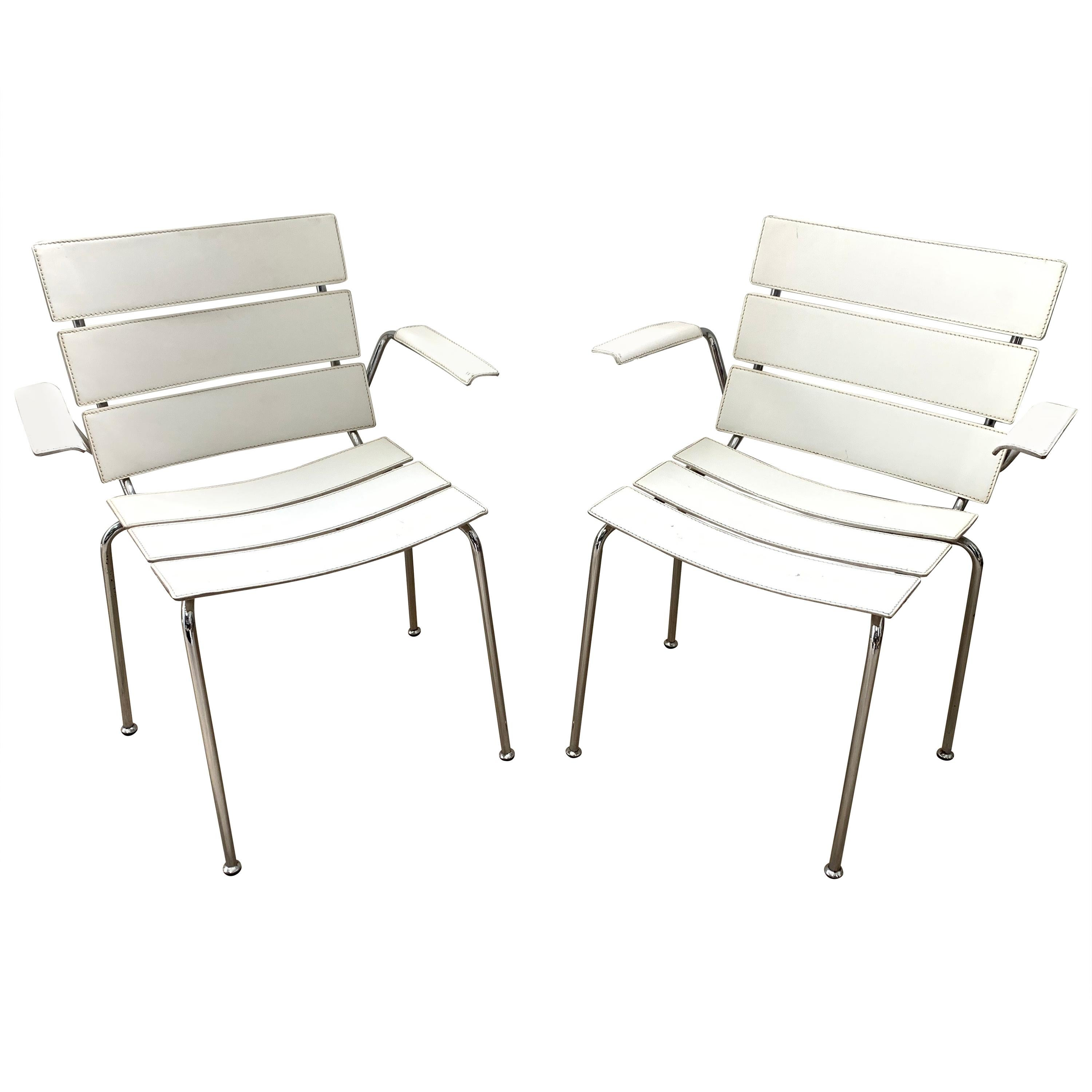 """Rare Pair of """"Stripe"""" Dining Chair Armchairs by Giancarlo Vegni for Fasem, 1999"""