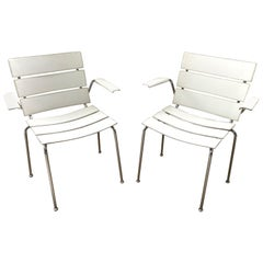 "Rare Pair of ""Stripe"" Dining Chair Armchairs by Giancarlo Vegni for Fasem, 1999"