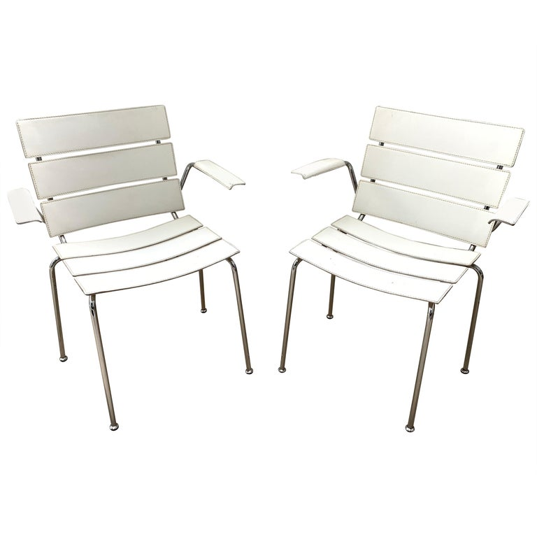 "Rare Pair of ""Stripe"" Dining Chair Armchairs by Giancarlo Vegni for Fasem, 1999 For Sale"