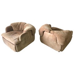 "Rare Pair of Suede ""Confidential"" Armchairs or Club Chairs by Alberto Rosselli"