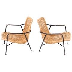 Rare Pair of Swedish Rattan Chairs, 1960s