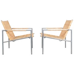 Rare Pair of SZ 01 Lounge Chairs Cane and Chrome by Martin Visser, 1960
