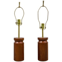 Rare Pair of Table Lamps by Arden Riddle in Cherry