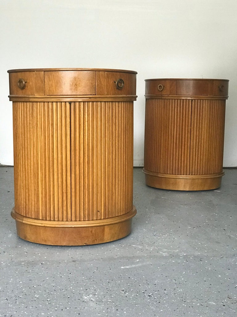 Mid-Century Modern Rare Pair of Tambour Door Cabinets/ Nightstands by Edward Wormley for Dunbar
