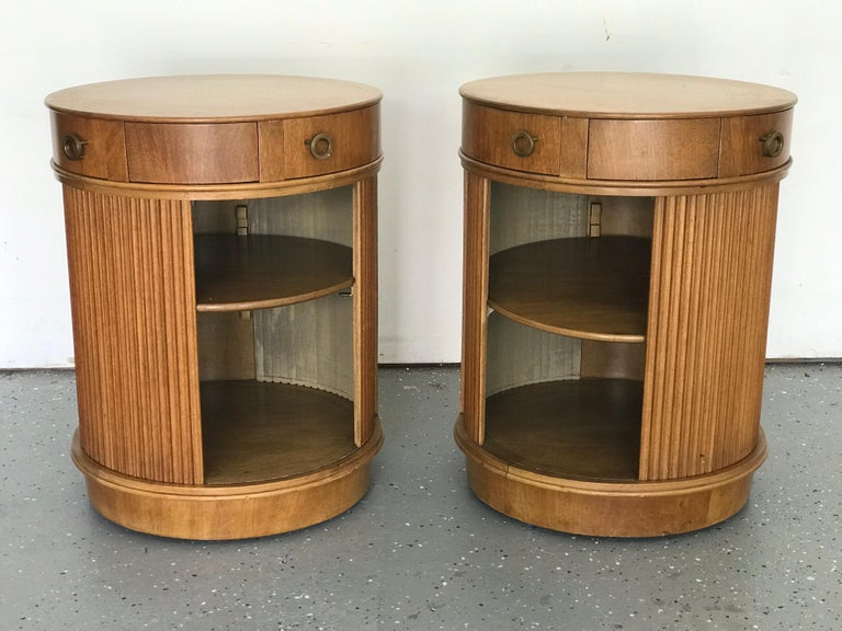 Walnut Rare Pair of Tambour Door Cabinets/ Nightstands by Edward Wormley for Dunbar
