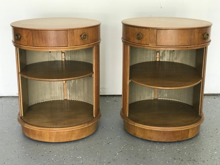 Rare Pair of Tambour Door Cabinets/ Nightstands by Edward Wormley for Dunbar 1