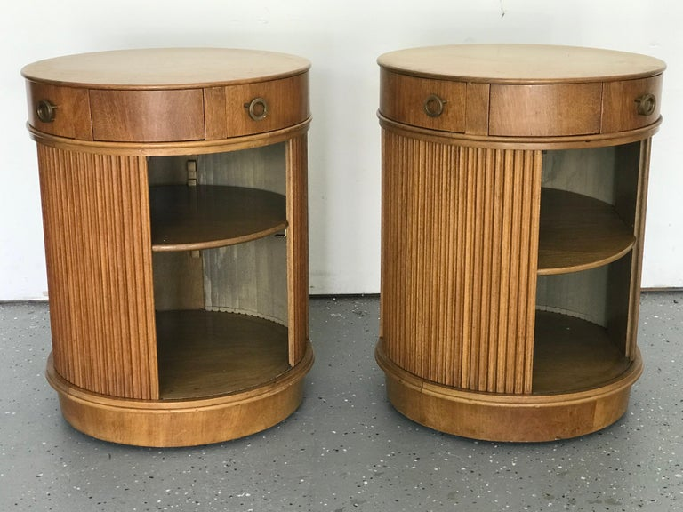Rare Pair of Tambour Door Cabinets/ Nightstands by Edward Wormley for Dunbar 2