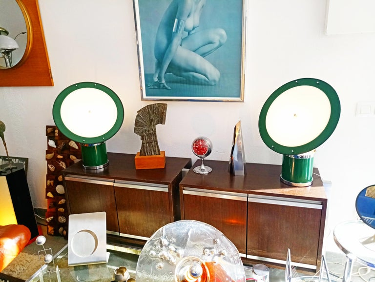Beautiful and rare pair of the first Estiluz table lamp by Leonardo Marelli manufactured in Spain in 1970s. This pair is in perfect condition because they come from a new stock dating from 1970. The Estiluz company was founded in 1969 by Gerard