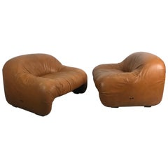 """Rare Pair of Tobia Scarpa """"Bonanza"""" Lounge Chairs in Cognac Leather, 1969"""
