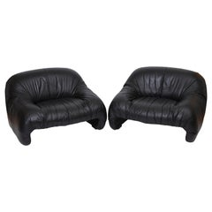 "Rare Pair of Tobia Scarpa ""Bonanza"" Lounge Chairs in Leather, circa 1969"