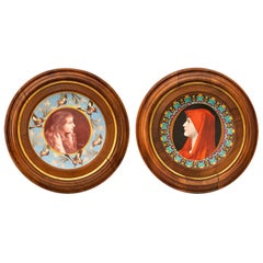 """Rare Pair of """"Tondo"""" Display Dishes by V. Desgeorges, French School, Circa 1890"""