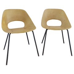 "Rare Pair of ""Tonneau"" Fiberglass Chairs by Pierre Guariche, France, 1960s"