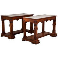 Rare Pair of Transitional Fruitwood Console Tables, 1835