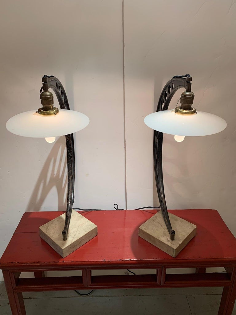 Industrial Rare Pair of Very Large 19th Century Crescent Shaped Micrometer Custom Lamps For Sale