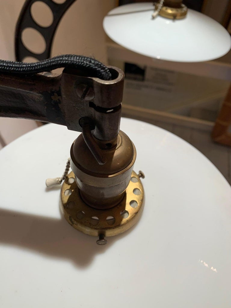 Rare Pair of Very Large 19th Century Crescent Shaped Micrometer Custom Lamps In Good Condition For Sale In Hopewell, NJ