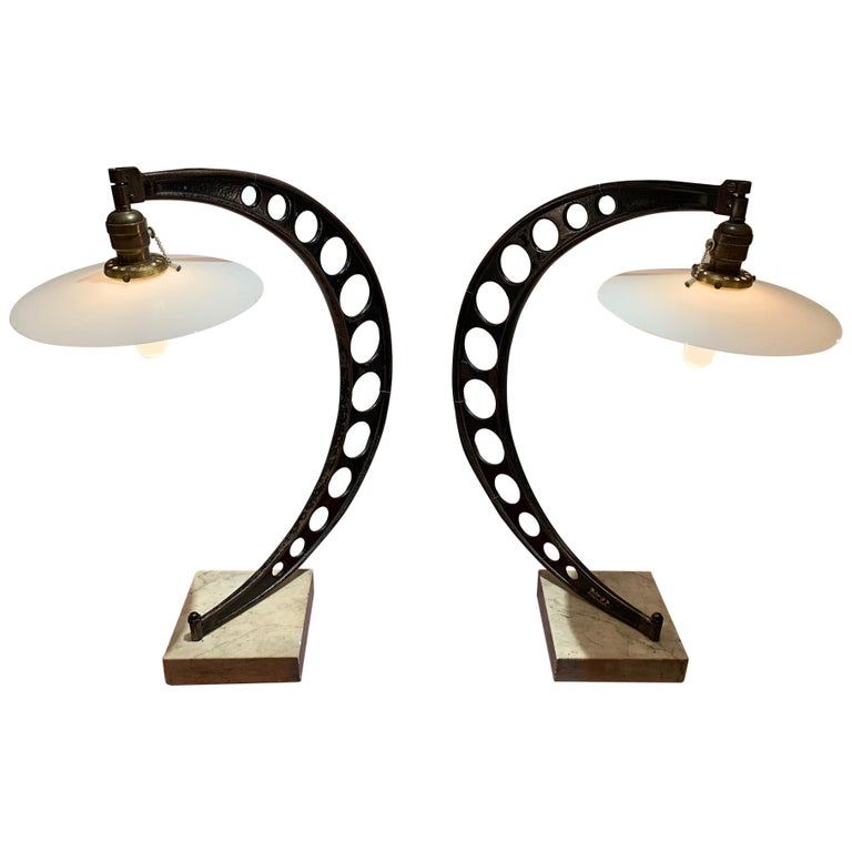 Rare Pair of Very Large 19th Century Crescent Shaped Micrometer Custom Lamps For Sale
