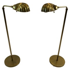 Rare Pair of Vintage Adjustable Brass Shell Motife Floor Lamps by Chapman