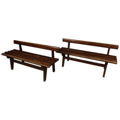 Rare Pair of Vintage Benches from France, 1950s