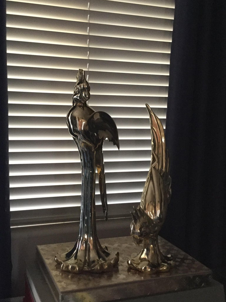 Rococo Rare Pair of Vintage Dolby Brass Parrots Animal Sculpture For Sale