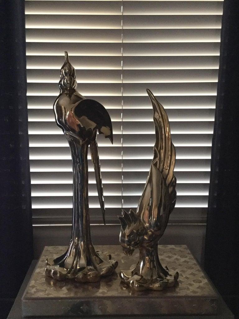 Korean Rare Pair of Vintage Dolby Brass Parrots Animal Sculpture For Sale