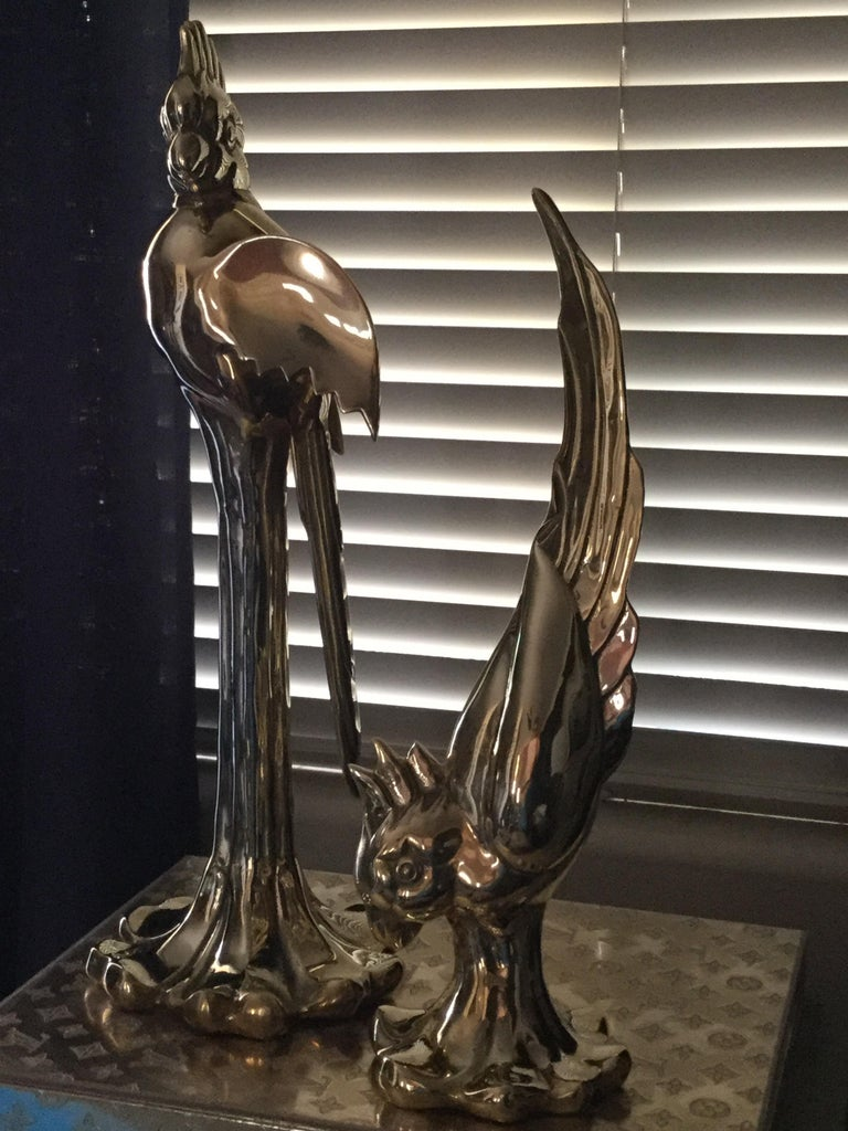 Hand-Crafted Rare Pair of Vintage Dolby Brass Parrots Animal Sculpture For Sale