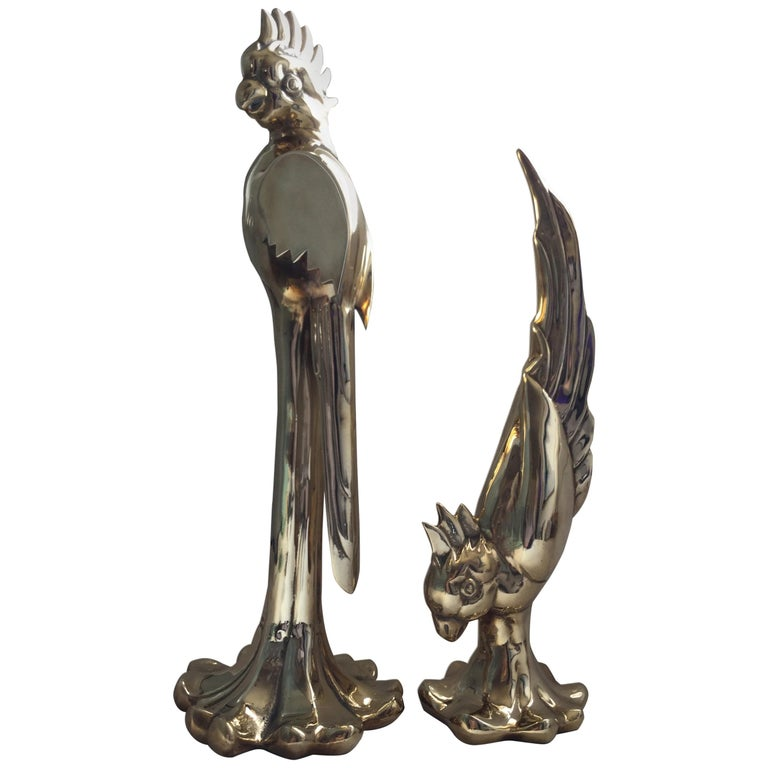 Rare Pair of Vintage Dolby Brass Parrots Animal Sculpture For Sale