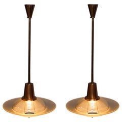 Rare Pair of Vintage Mid-Century Modern Copper Chandeliers Twin Glass Shades