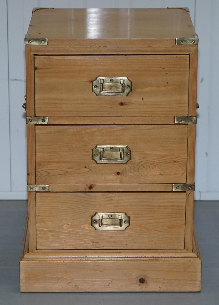 Retro Style Container Bedside Table: Rare Pair Of Vintage Pitch Pine Campaign Drawers Ideal