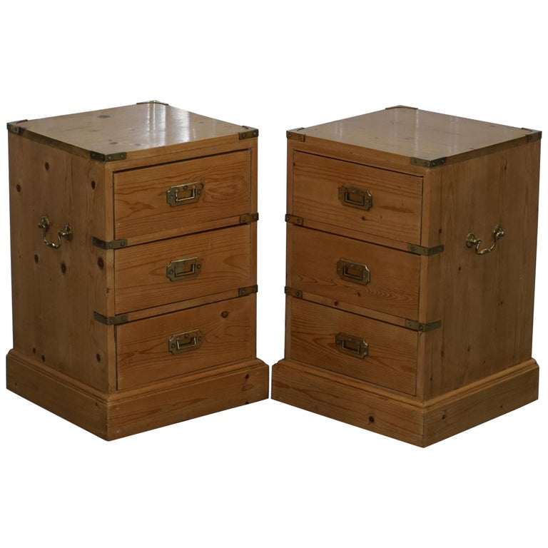 Pair Of Simple Church Lights For Sale: Rare Pair Of Vintage Pitch Pine Campaign Drawers Ideal