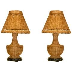 Rare Pair of Vintage Wicker Table Lamp