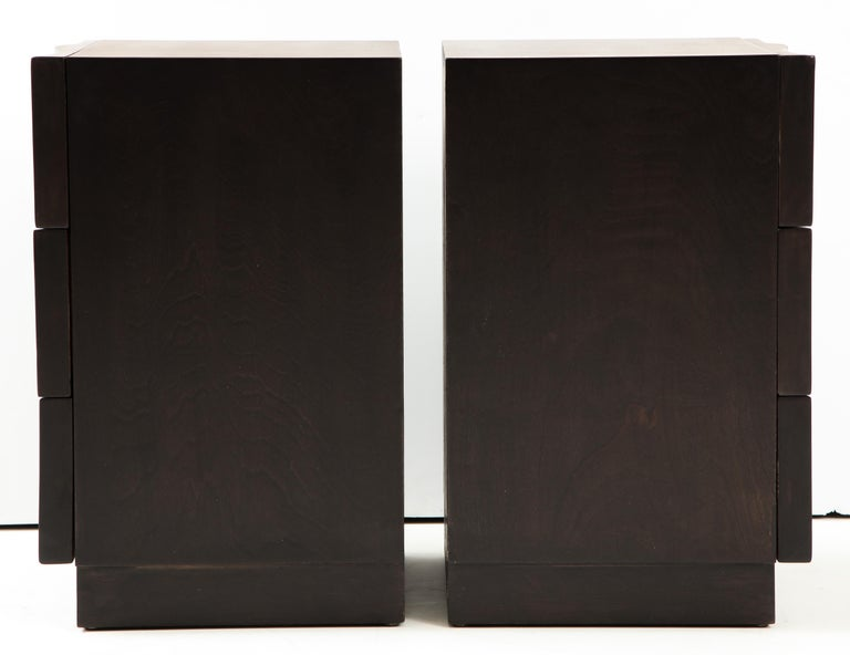 Rare Pair of Wave Front Cabinets / Nightstands by James Mont For Sale 5