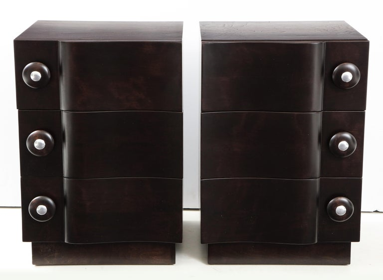 American Rare Pair of Wave Front Cabinets / Nightstands by James Mont For Sale