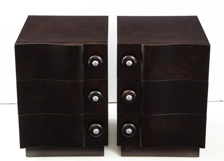Mid-20th Century Rare Pair of Wave Front Cabinets / Nightstands by James Mont For Sale