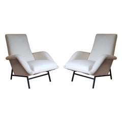 Rare Pair of White Bouclette Guy Besnard Armchairs, France, 1950s