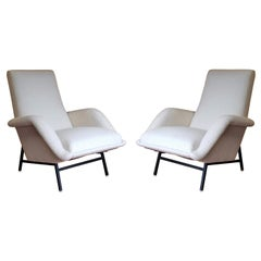 Rare Pair of White Bouclette Guy Besnard Armchairs, France 1950s