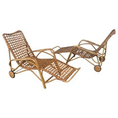 Rare Pair of Wicker Chaise Longues