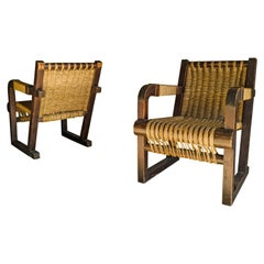 Rare Pair of Woven Lounge Chairs from France, circa 1960